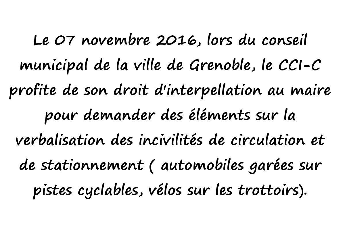 Question au conseil municipal du 7 novembre 2016 sur la verbalisation