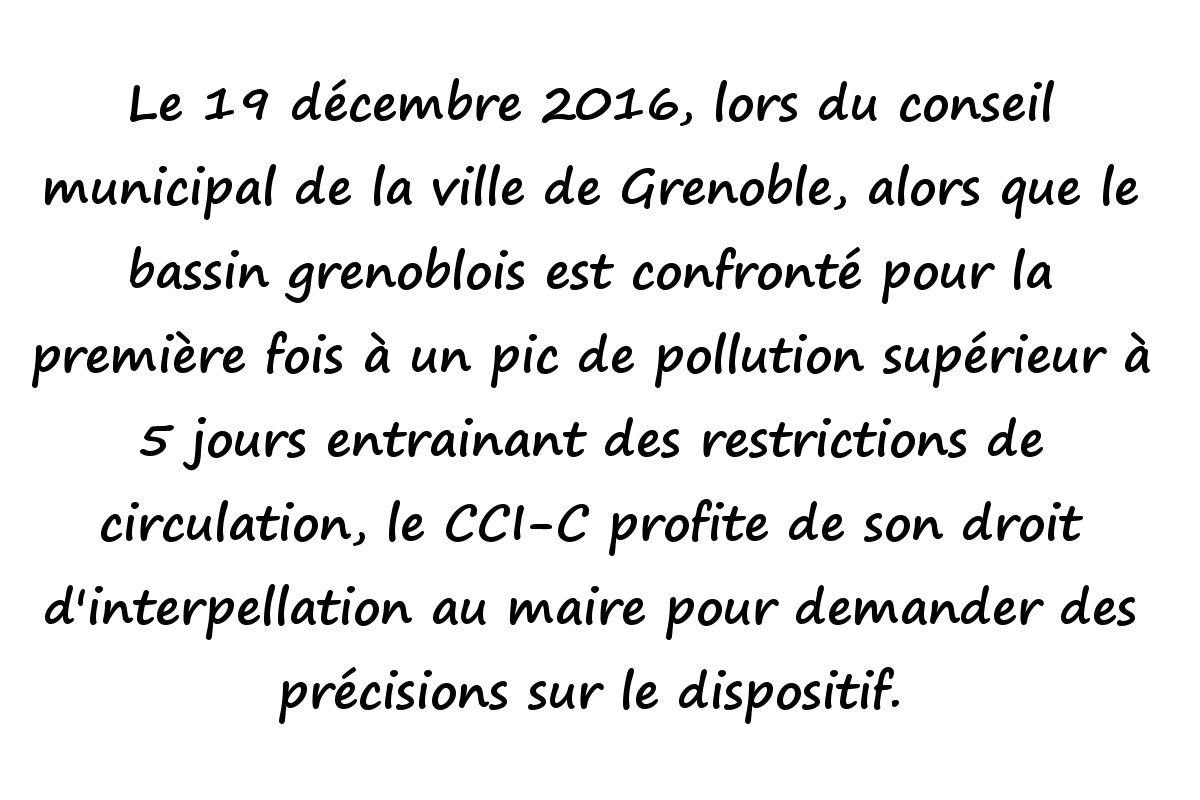 Question au conseil municipal du 19 décembre 2016 sur les mesures liées à la pollution